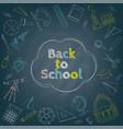 back to school chalk drawing on blackboard vector image vector image