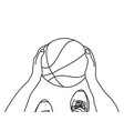 basketball hands feet and ball top view black and vector image