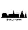 Burlington City skyline black and white silhouette vector image vector image
