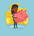 business woman holding big piggy bank vector image