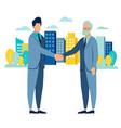 businessman handshake deal flat style cartoon vector image vector image