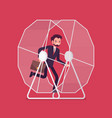 businessman in a running wheel vector image vector image