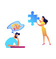 businessman trying to solve puzzle and woman with vector image