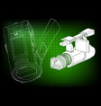 camera on green vector image