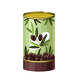 cartoon black olives tin can icon vector image vector image