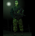cartoon man in uniform military with a gun vector image vector image