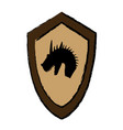 cartoon shield knight dragon fairy tale emblem vector image