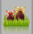 chocolate easter eggs with bow in green grass vector image vector image