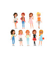 collection cute teenager girls dressed in vector image