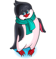 Cute little penguin wearing a scarf vector image