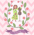 Cute romantic card with happy cartoon seamstress vector image