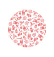 decorative round from red christmas symbols vector image vector image