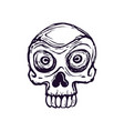 drawing a stylized skull on a white vector image vector image