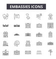 embassies line icons signs set outline vector image vector image