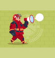 fireman speaking in megaphone wear uniform and vector image