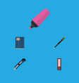 flat icon tool set of copybook marker knife and vector image vector image