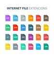 flat style icon set internet web file type vector image