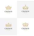 four linear crown icons vector image