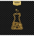 Gold glitter icon of beaker isolated on