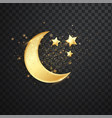 golden reflective crescent moons with stars vector image