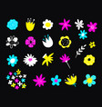 hand drawn colorful blooming flowers botanical vector image vector image