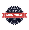 happy memorial day emblem patriotic sign vector image vector image