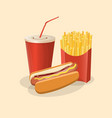 hot dog with french fries and soda cup - cute vector image vector image