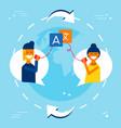 international friends translating chat online vector image vector image