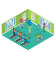 isometric fitness club concept vector image