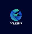 logo sea lion gradient colorful style vector image
