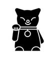 maneki neko icon black sign vector image vector image