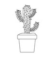monochrome silhouette with cactus of three branch vector image vector image