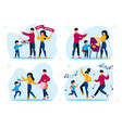 parents with children active life concepts vector image vector image