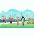 people in public park doing fitness sports vector image vector image