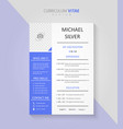 professional curriculum vitae document design vector image vector image