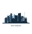 rotterdam skyline monochrome silhouette vector image vector image