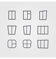 set black silhouettes windows isolated vector image