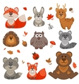 set cute cartoon forest animals vector image
