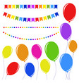 set of flat colored isolated balloons on ropes vector image vector image