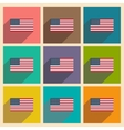 Set of flat icons with long shadow American flag vector image vector image