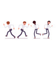 set of male and female clerk runnig rear front vector image
