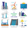 set of renewable energy flat style icons vector image vector image