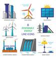 set of renewable energy flat style icons vector image