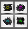 set painted charcoal banners vector image vector image