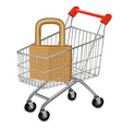 Shopping cart with key vector image