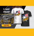 t-shirt mockup with eagle side head and flag vector image