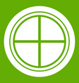 white round window icon green vector image vector image