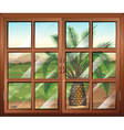 A window with a view of the palm plant outdoor vector image