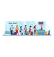 airport queue counter check people with tickets vector image vector image