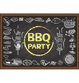 BBQ on chalkboard vector image vector image
